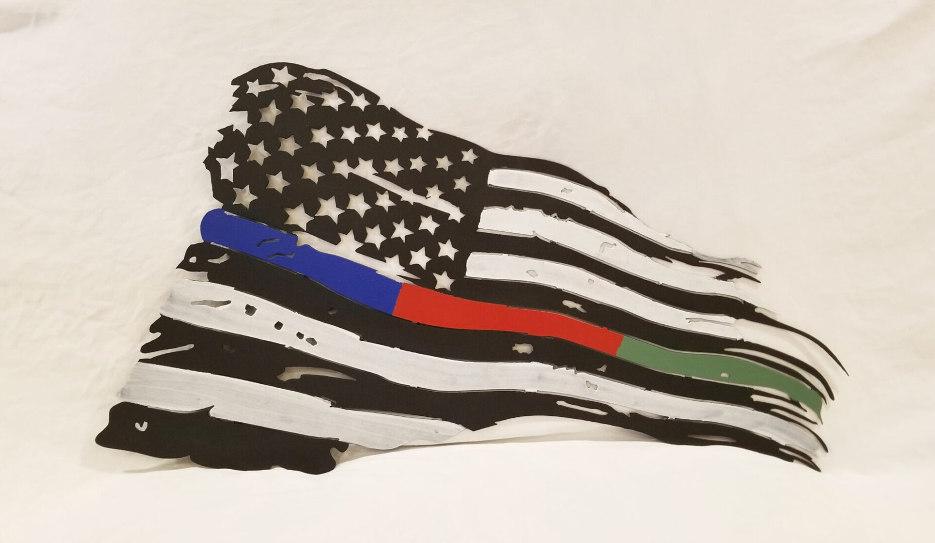 Tattered American Flag with Police Fire Military Honor Stripe